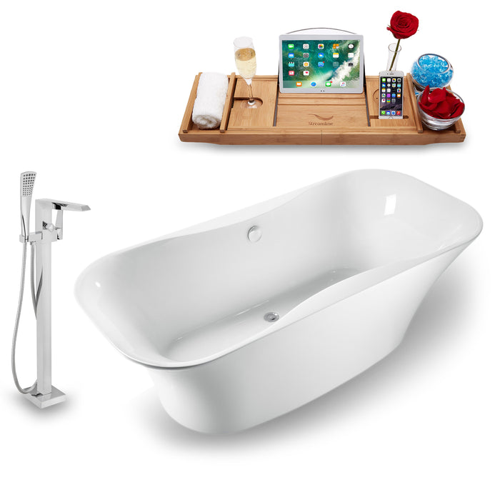 "Tub, Faucet and Tray Set Streamline 59"" Freestanding NH1060-100"