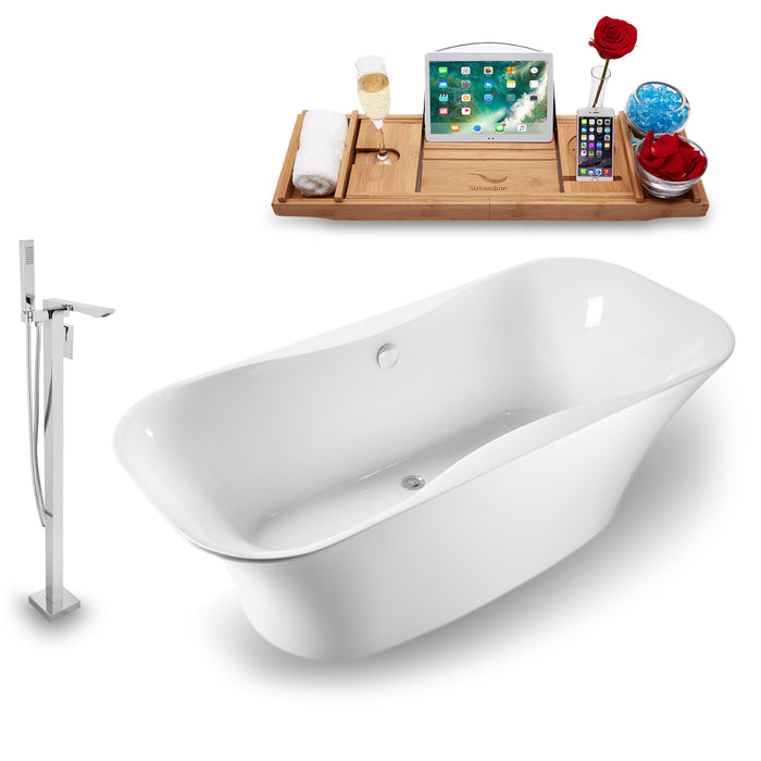 "Tub, Faucet and Tray Set Streamline 59"" Freestanding NH1060-140"