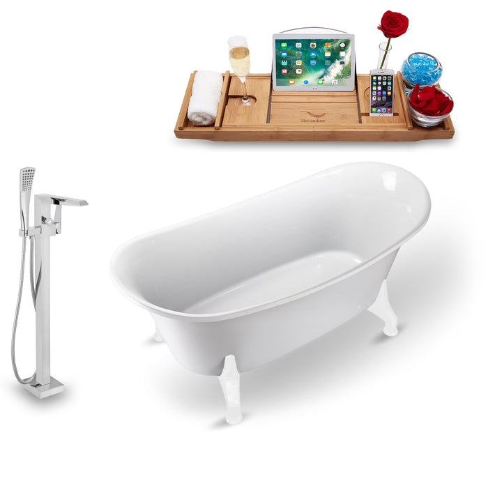 "Tub, Faucet and Tray Set Streamline 59"" Clawfoot NH1080WH-100"
