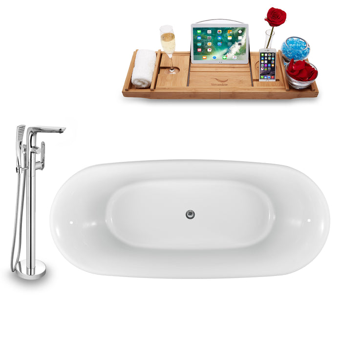 "Tub, Faucet and Tray Set Streamline 59"" Clawfoot NH1080WH-120"