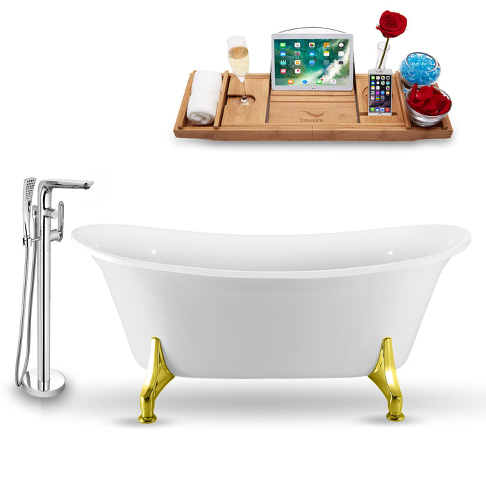"Tub, Faucet and Tray Set Streamline 67"" Clawfoot NH1081GLD-120"