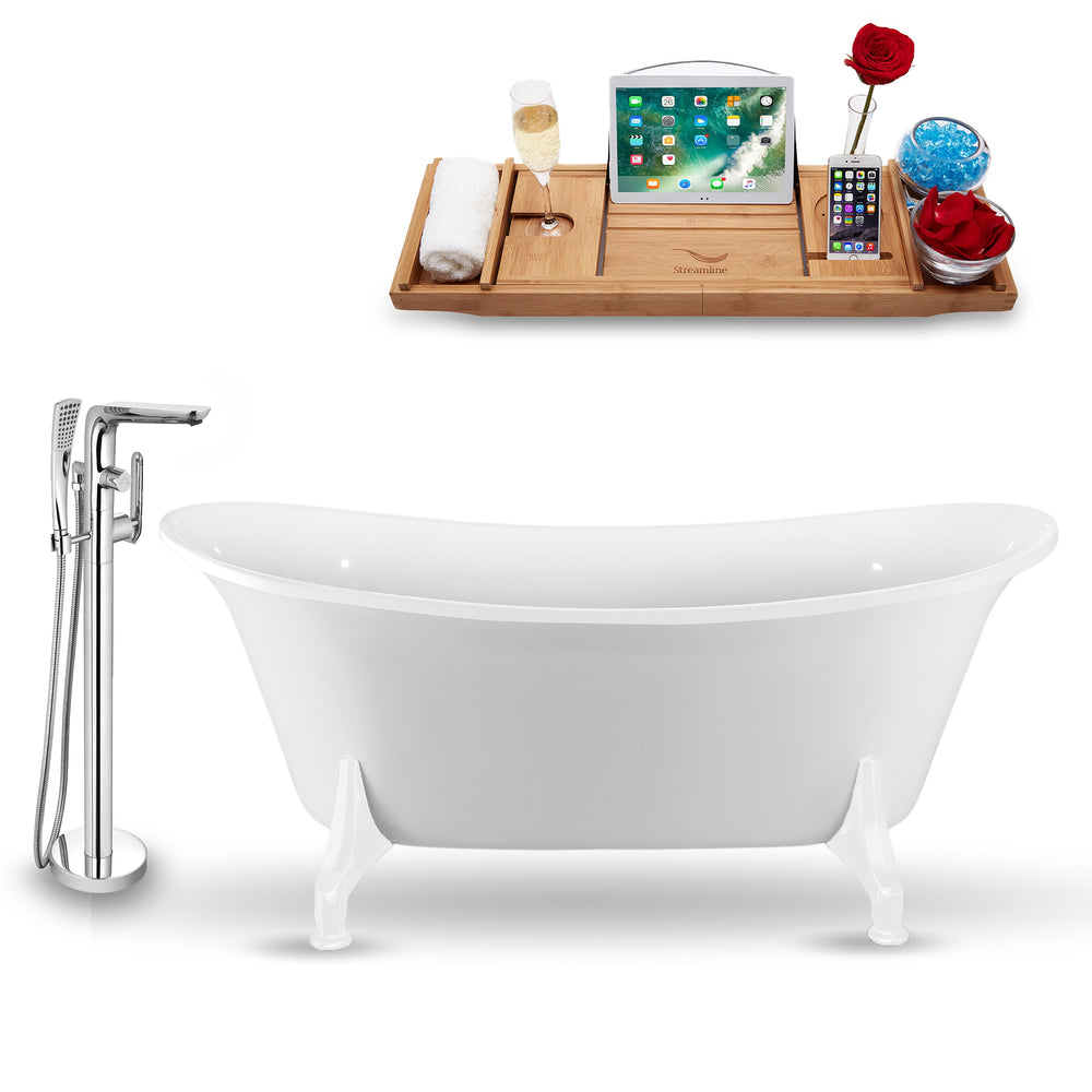 "Tub, Faucet and Tray Set Streamline 67"" Clawfoot NH1081WH-120"