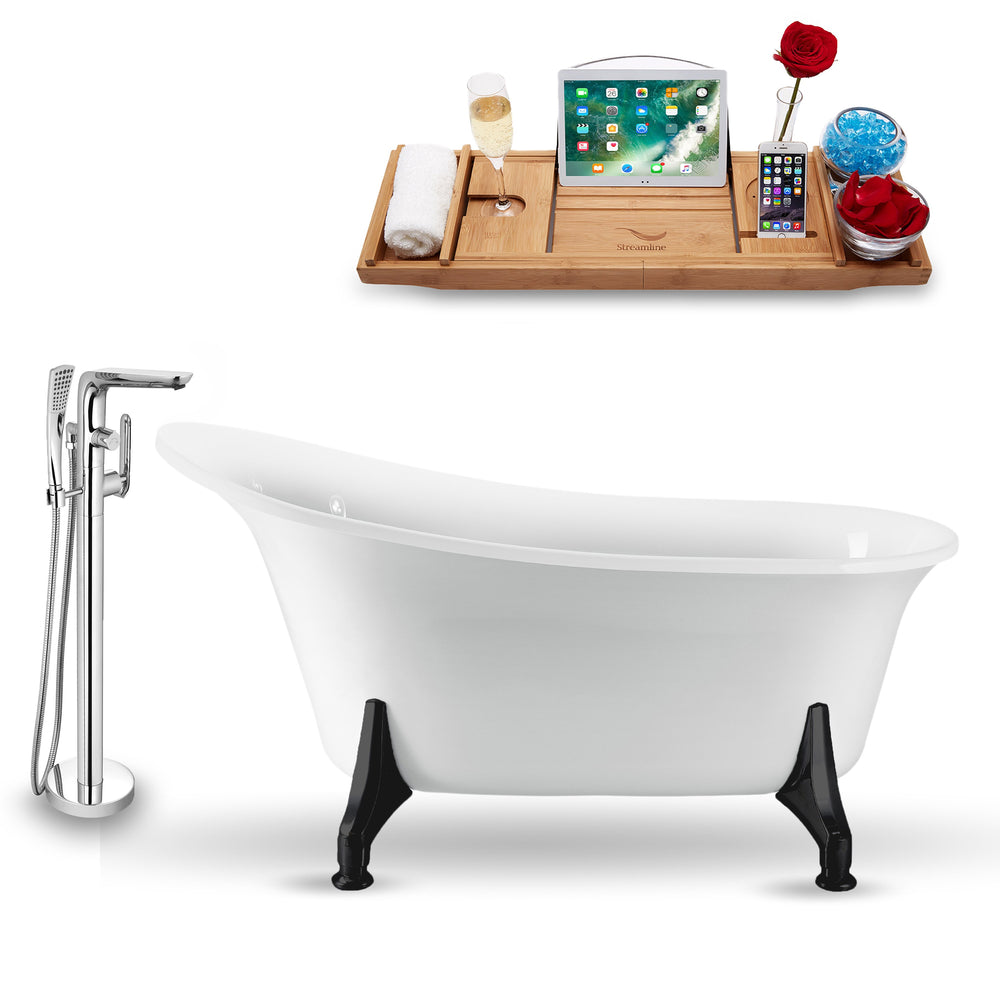 "Tub, Faucet and Tray Set Streamline 59"" Clawfoot NH1100BL-120"