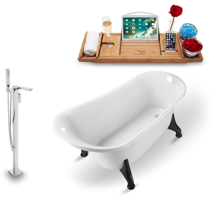 "Tub, Faucet and Tray Set Streamline 59"" Clawfoot NH1100BL-140"
