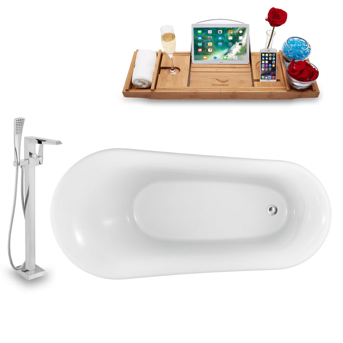 "Tub, Faucet and Tray Set Streamline 59"" Clawfoot NH1100CH-100"