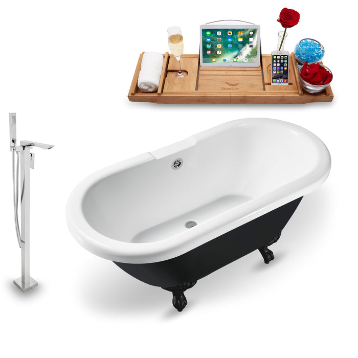 "Tub, Faucet and Tray Set Streamline 59"" Clawfoot NH1120BL-CH-140"