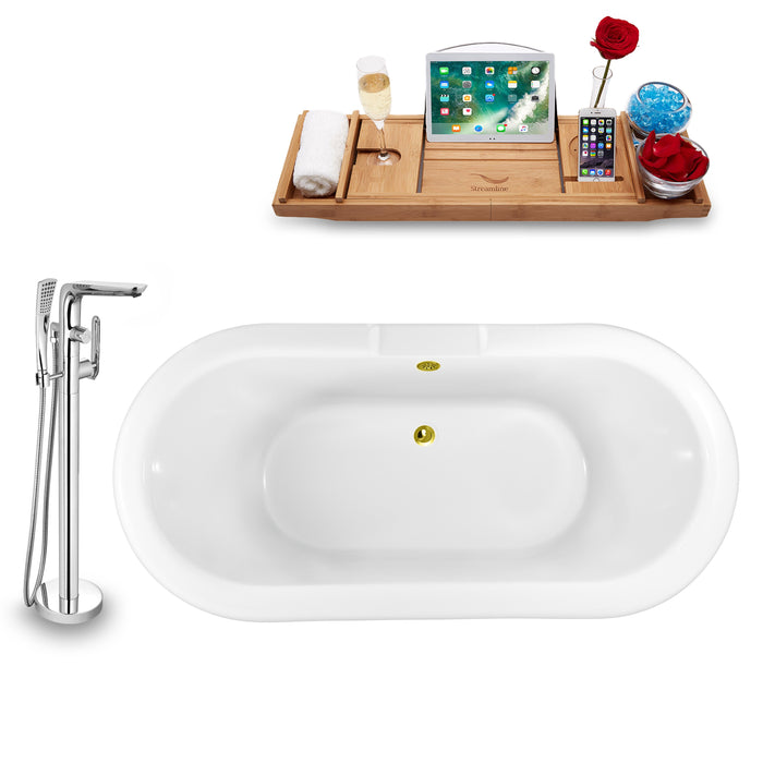 "Tub, Faucet and Tray Set Streamline 59"" Clawfoot NH1120CH-GLD-120"