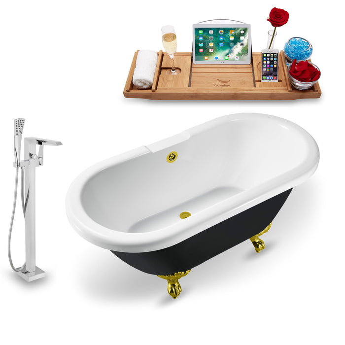 "Tub, Faucet and Tray Set Streamline 59"" Clawfoot NH1120GLD-GLD-100"
