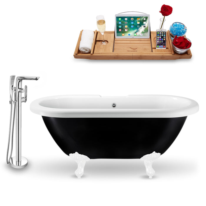 "Tub, Faucet and Tray Set Streamline 59"" Clawfoot NH1120WH-CH-120"