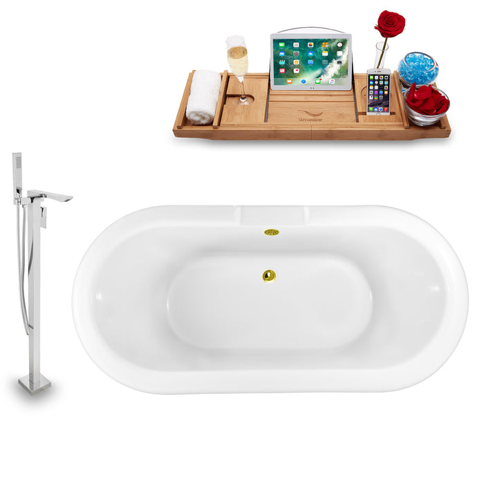 "Tub, Faucet and Tray Set Streamline 59"" Clawfoot NH1120WH-GLD-140"