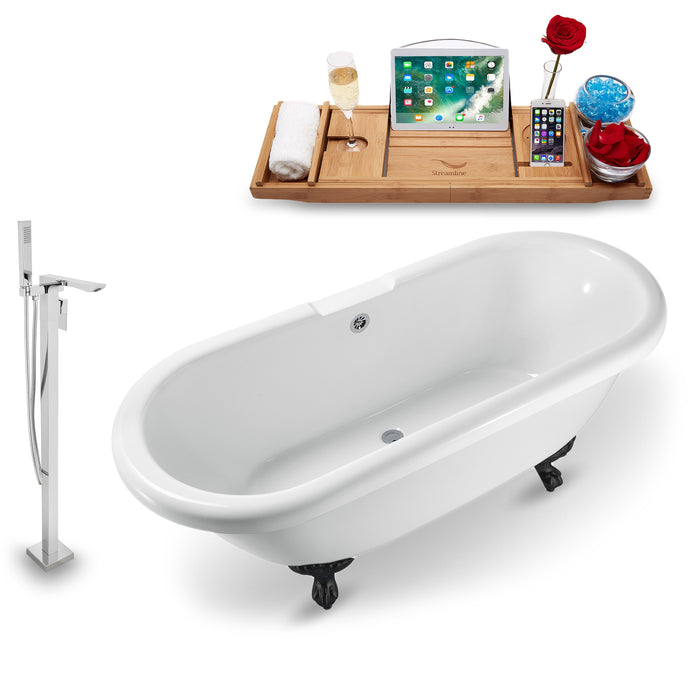 "Tub, Faucet and Tray Set Streamline 67"" Clawfoot NH1121BL-CH-140"