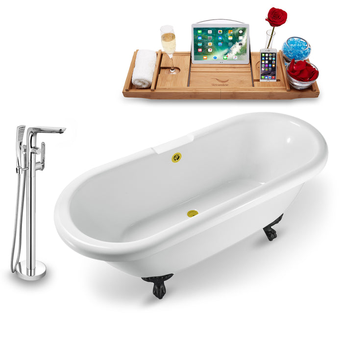 "Tub, Faucet and Tray Set Streamline 67"" Clawfoot NH1121BL-GLD-120"