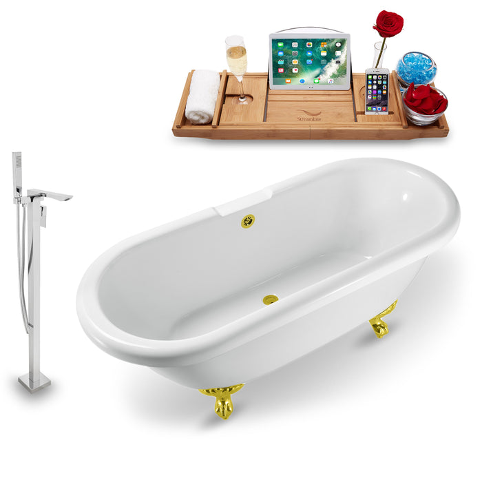 "Tub, Faucet and Tray Set Streamline 67"" Clawfoot NH1121GLD-GLD-140"