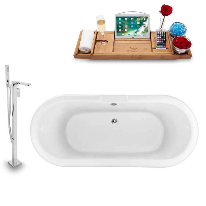 "Tub, Faucet and Tray Set Streamline 67"" Clawfoot NH1121WH-CH-140"