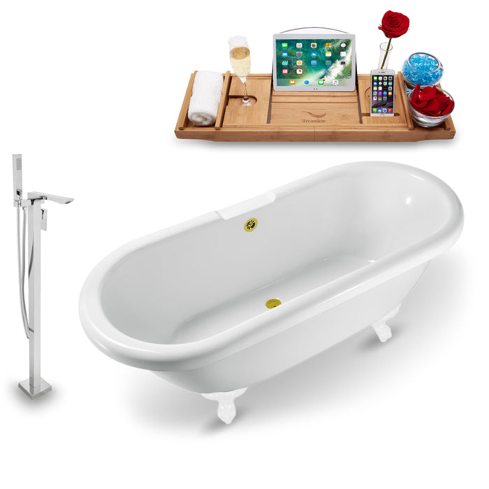 "Tub, Faucet and Tray Set Streamline 67"" Clawfoot NH1121WH-GLD-140"
