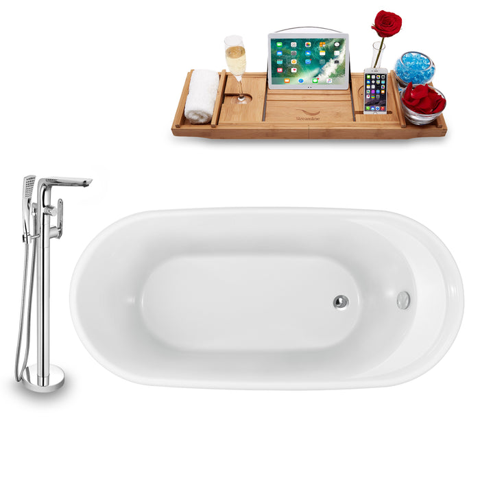 "Tub, Faucet and Tray Set Streamline 59"" Freestanding NH1161-120"