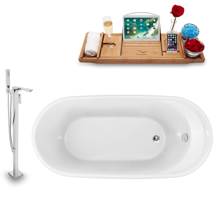 "Tub, Faucet and Tray Set Streamline 59"" Freestanding NH1161-140"