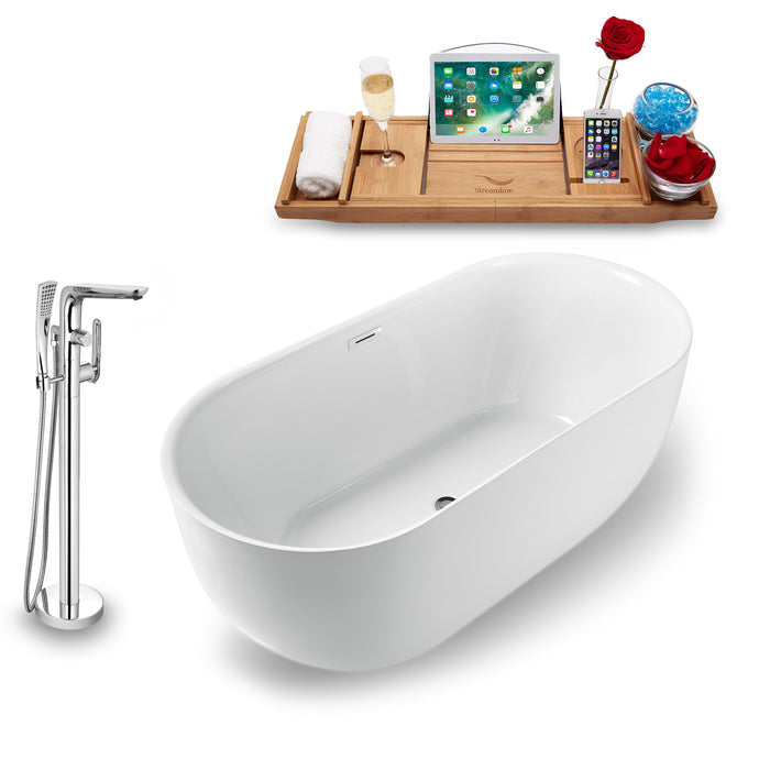 "Tub, Faucet and Tray Set Streamline 59"" Freestanding NH1241-120"