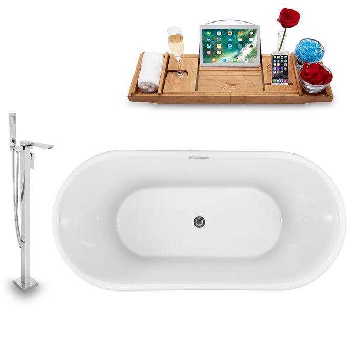 "Tub, Faucet and Tray Set Streamline 59"" Freestanding NH1241-140"