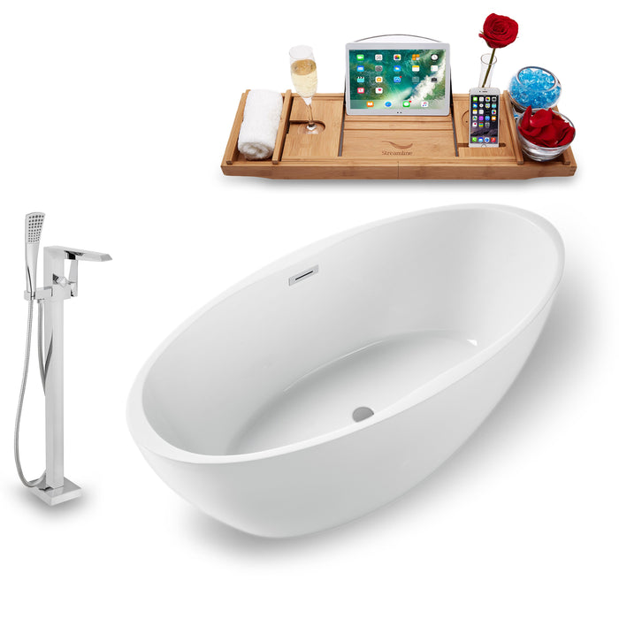 "Tub, Faucet and Tray Set Streamline 59"" Freestanding NH1301-100"