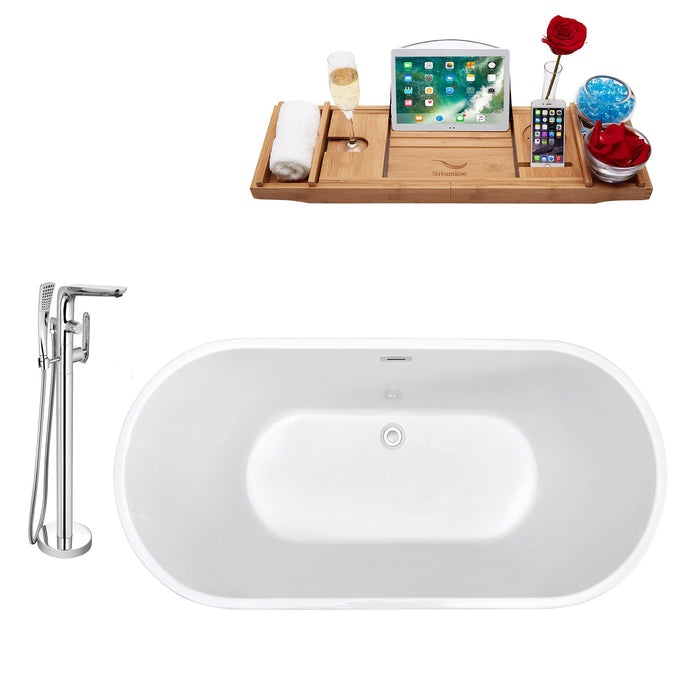 "Tub, Faucet and Tray Set Streamline 59"" Freestanding NH140-120"
