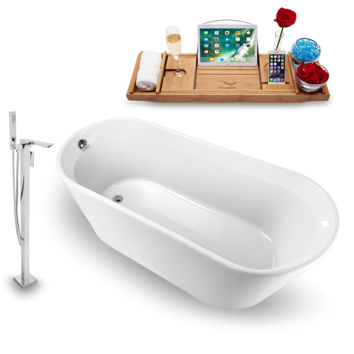 Tub, Faucet and Tray Set Streamline 65  Freestanding NH1521-140