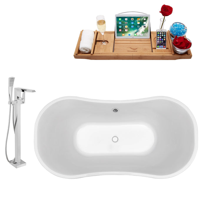 "Tub, Faucet and Tray Set Streamline 60"" Freestanding NH200CH-100"