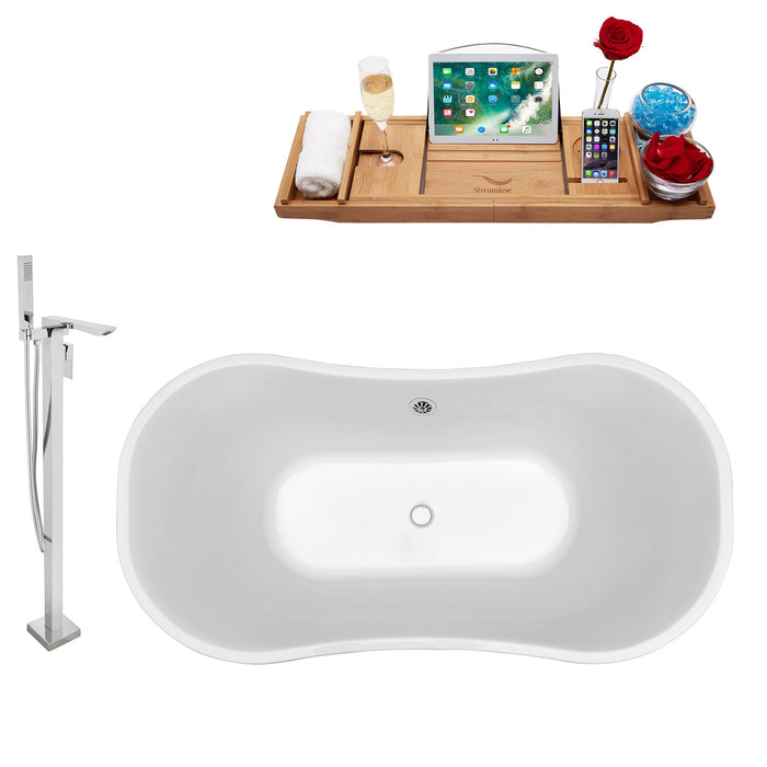 "Tub, Faucet and Tray Set Streamline 68"" Freestanding NH201CH-140"