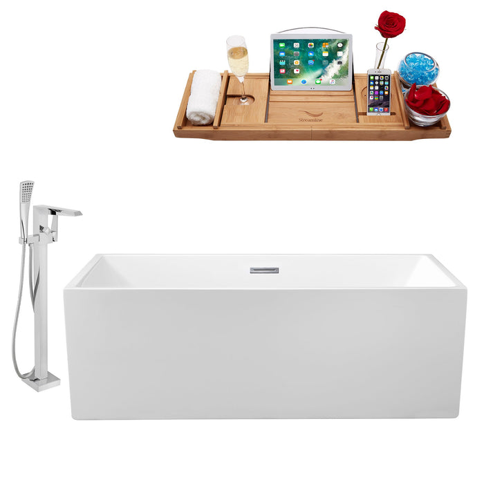 "Tub, Faucet and Tray Set Streamline 66"" Freestanding NH260-100"