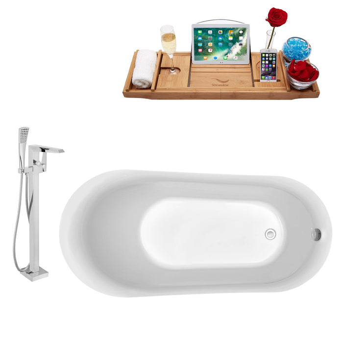 "Tub, Faucet and Tray Set Streamline 59"" Freestanding NH280-100"