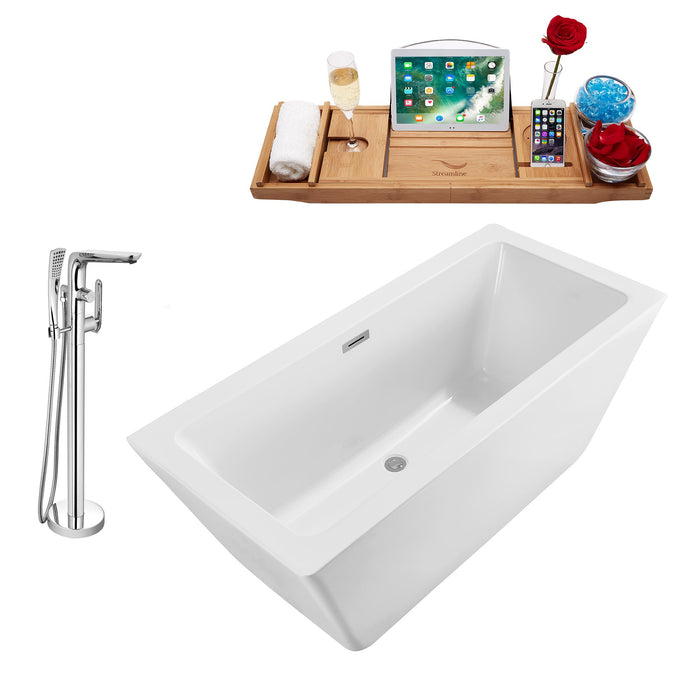 "Tub, Faucet and Tray Set Streamline 70"" Freestanding NH321-120"