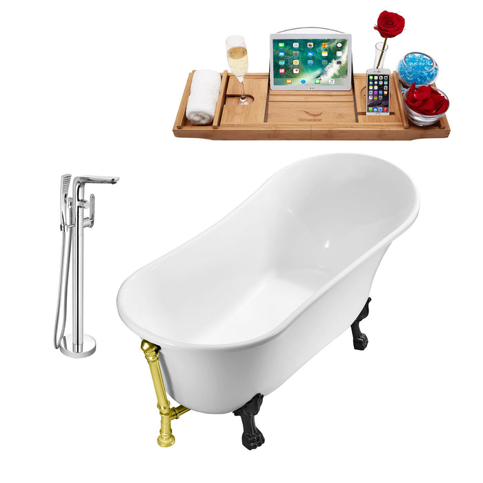 "Tub, Faucet and Tray Set Streamline 67"" Clawfoot NH340BL-GLD-120"