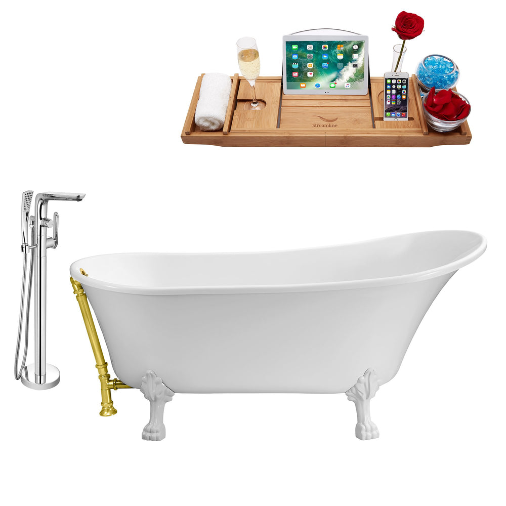 "Tub, Faucet and Tray Set Streamline 67"" Clawfoot NH340WH-GLD-120"