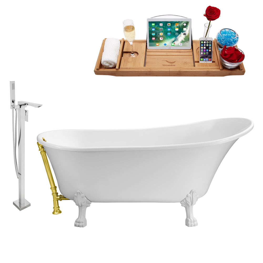 "Tub, Faucet and Tray Set Streamline 67"" Clawfoot NH340WH-GLD-140"