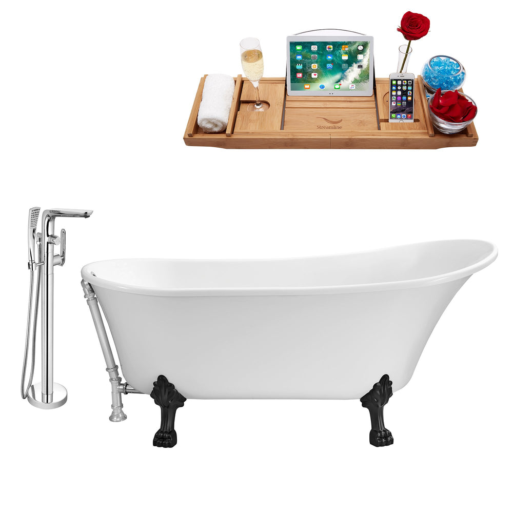 "Tub, Faucet and Tray Set Streamline 59"" Clawfoot NH341BL-CH-120"