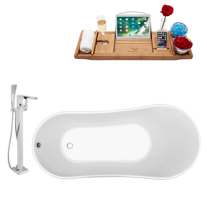 "Tub, Faucet and Tray Set Streamline 59"" Clawfoot NH341GLD-CH-100"