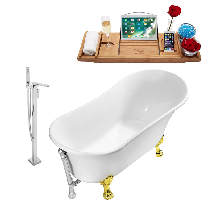 "Tub, Faucet and Tray Set Streamline 59"" Clawfoot NH341GLD-CH-140"