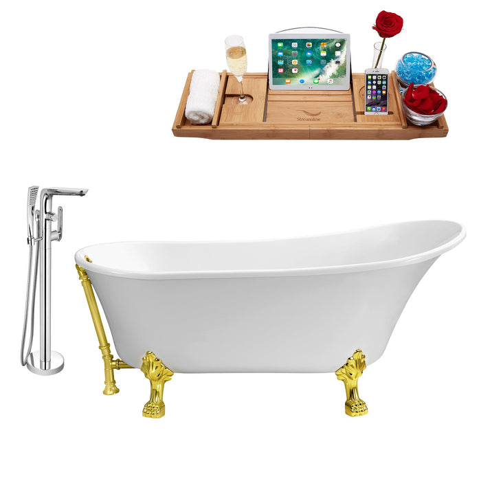 "Tub, Faucet and Tray Set Streamline 59"" Clawfoot NH341GLD-GLD-120"