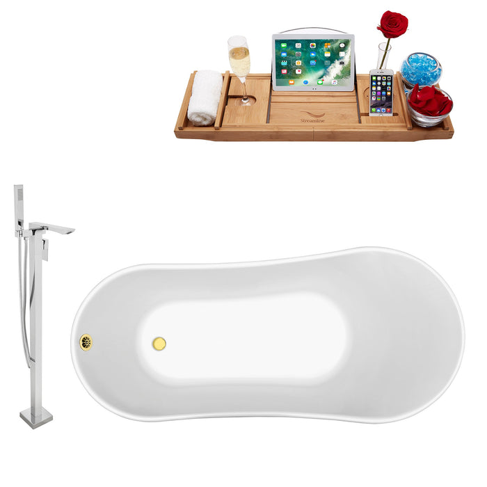 "Tub, Faucet and Tray Set Streamline 59"" Clawfoot NH341GLD-GLD-140"