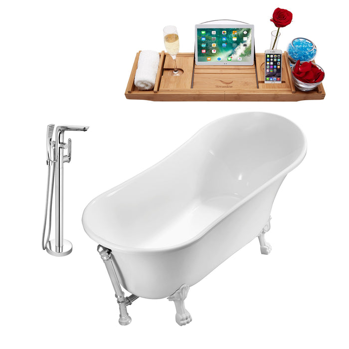 "Tub, Faucet and Tray Set Streamline 59"" Clawfoot NH341WH-CH-120"