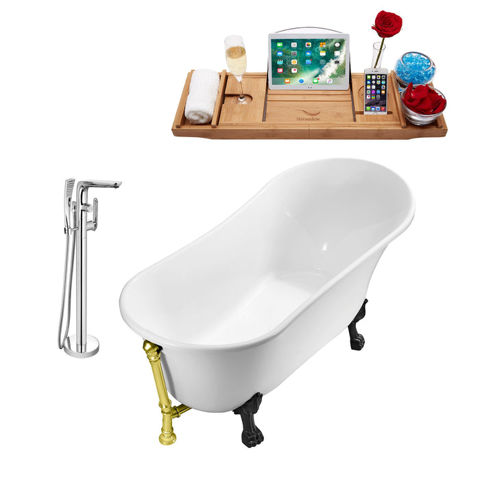 "Tub, Faucet and Tray Set Streamline 63"" Clawfoot NH342BL-GLD-120"
