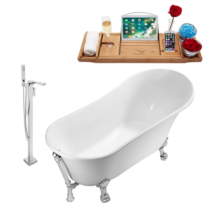 "Tub, Faucet and Tray Set Streamline 63"" Clawfoot NH342CH-CH-140"