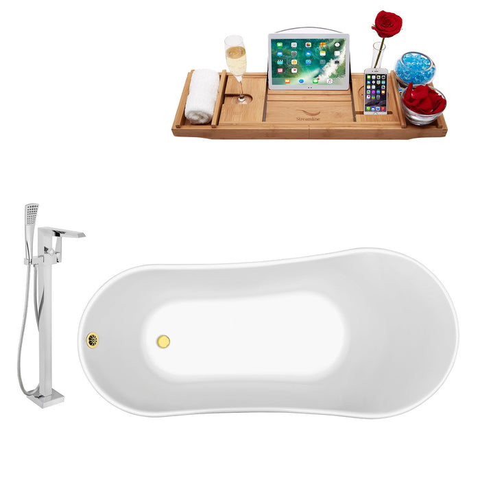 "Tub, Faucet and Tray Set Streamline 63"" Clawfoot NH342GLD-GLD-100"