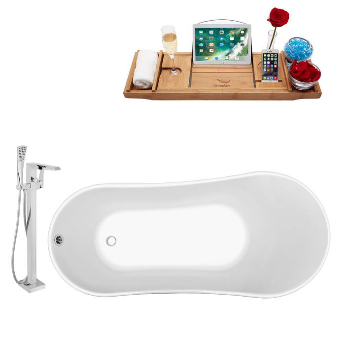 "Tub, Faucet and Tray Set Streamline 63"" Clawfoot NH342WH-CH-100"