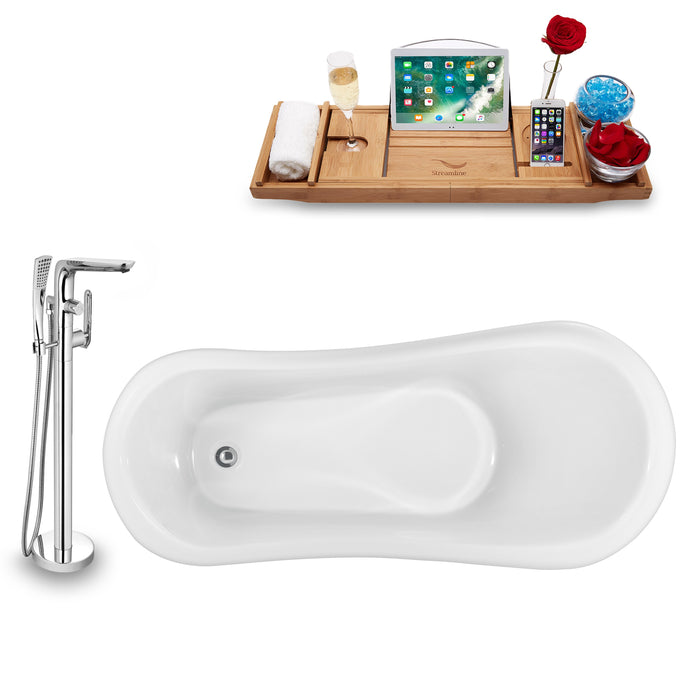 "Tub, Faucet and Tray Set Streamline 61"" Clawfoot NH481GLD-120"