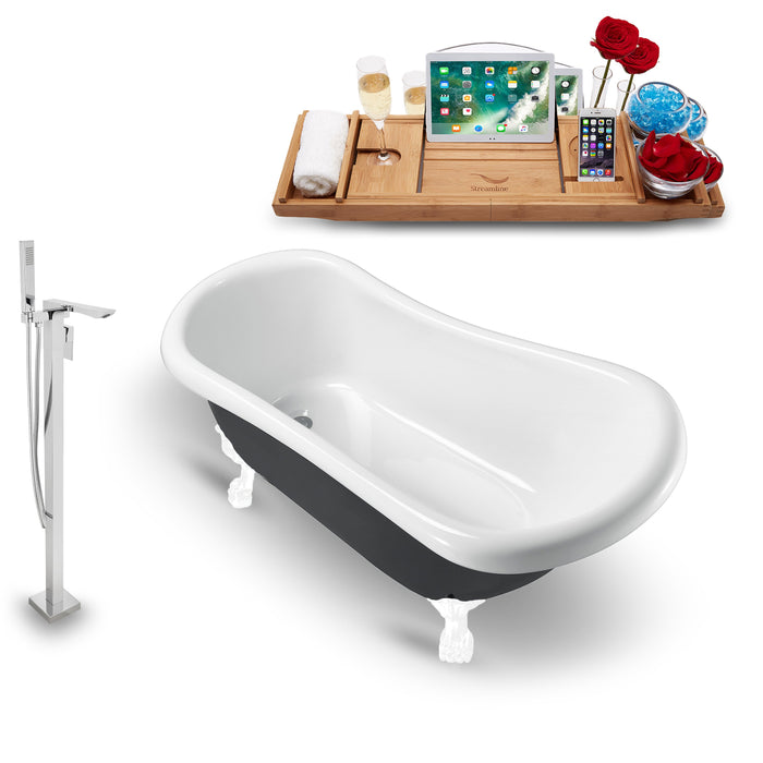 "Tub, Faucet and Tray Set Streamline 61"" Clawfoot NH481WH-140"