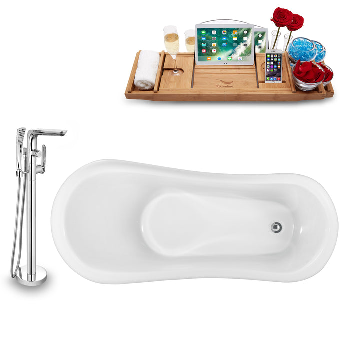 "Tub, Faucet and Tray Set Streamline 61"" Clawfoot NH482GLD-120"