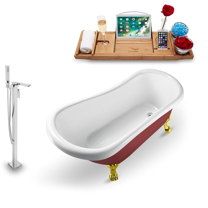 "Tub, Faucet and Tray Set Streamline 61"" Clawfoot NH482GLD-140"