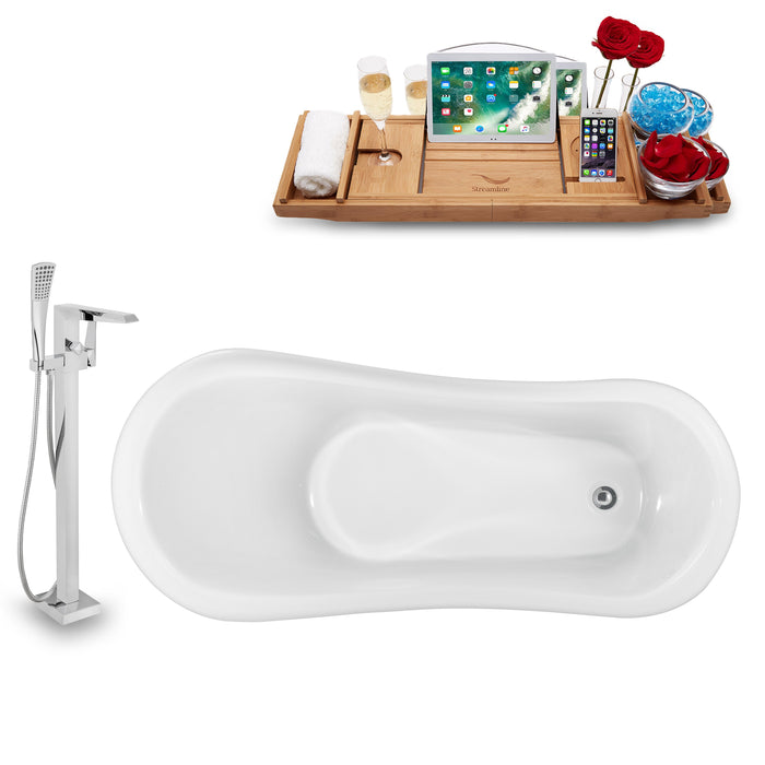 "Tub, Faucet and Tray Set Streamline 61"" Clawfoot NH482WH-100"