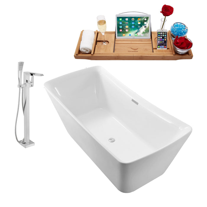 "Tub, Faucet and Tray Set Streamline 62"" Freestanding NH540-100"